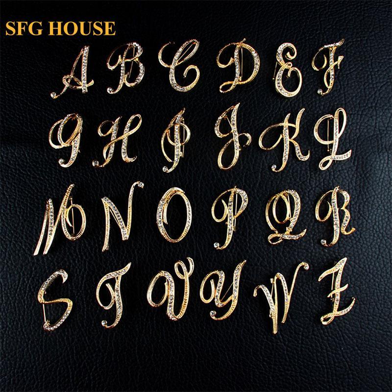 SFG HOUSE Лучший алфавит Письмо А-Я Золотой тон Первоначальное письмо Мода Брошь Pin