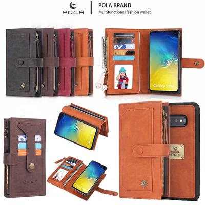 Vintage Shockproof Multi Function Zipper Leather Wallet Case Cover For iPhone X Samsumg Galaxy S10