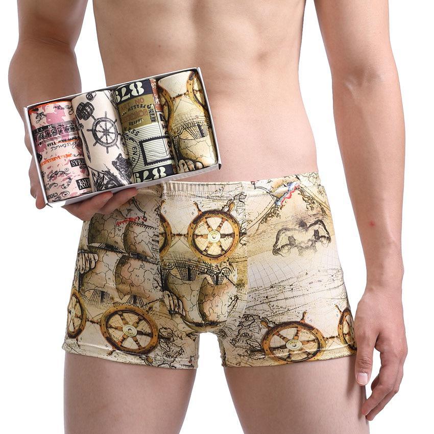 Бренд Wtempo 4 шт \Lot боксер карта нижнее белье шорты сексуальные модальных моды боксеры мужской кальсоны – купить по низким ценам в интернет-магазине Joom