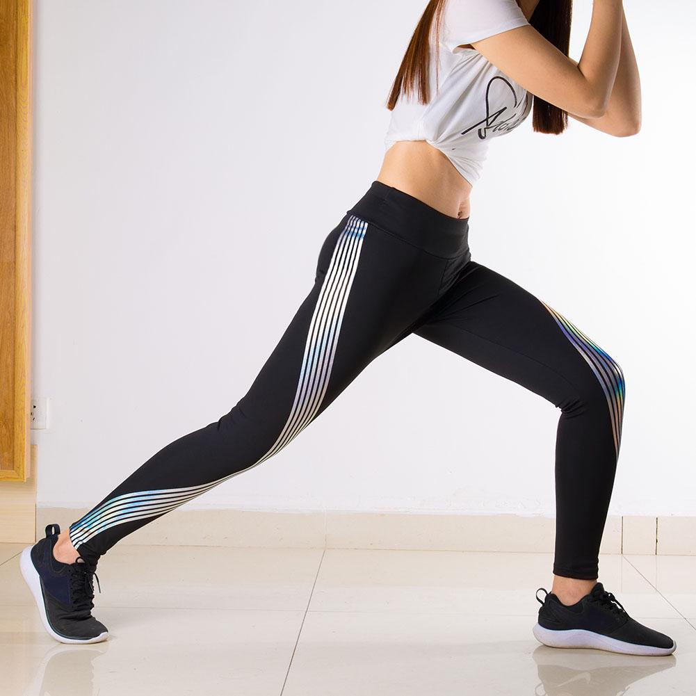 Womens Rainbow Reflective Glow Running Leggings Fitness Sports Gym Yoga Pants