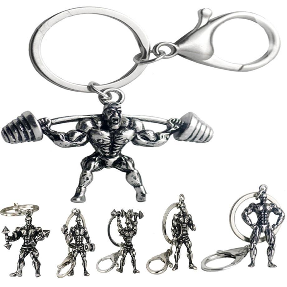 Dumbbell Barbell Bodybuilding Sport Key Chain Car Purse Bag Man Woman Metal Gift