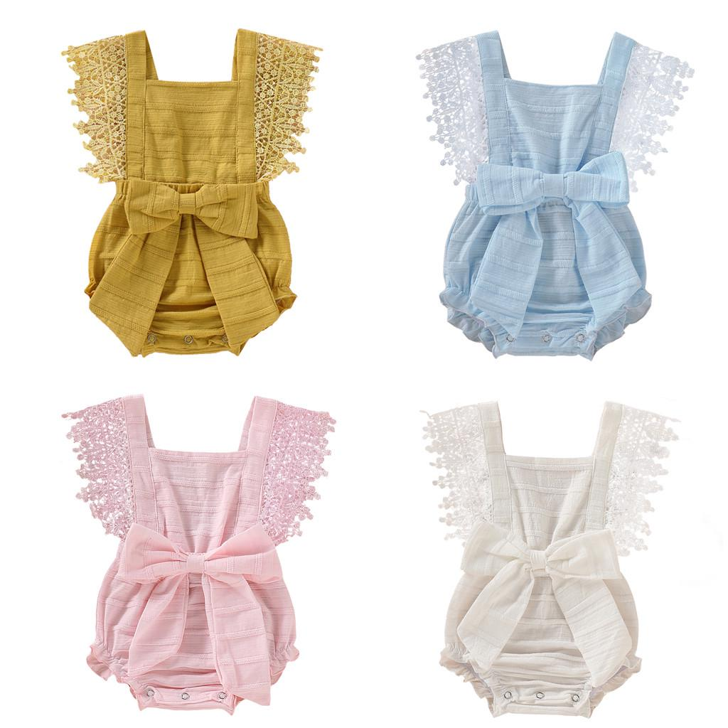Newborn Toddler Infant Baby Girls Solid Lace Bow Romper Bodysuit Clothes Outfits
