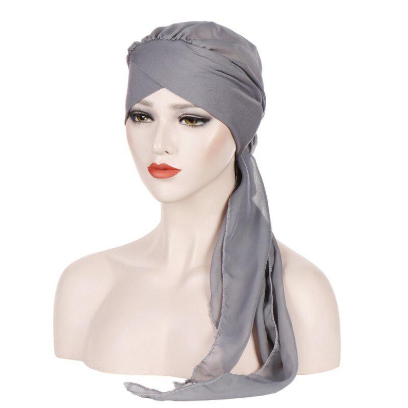 24pcs Muslim Women Head Wrap Scarf Hat Beads Beanie Islamic Turban Chemo Cap