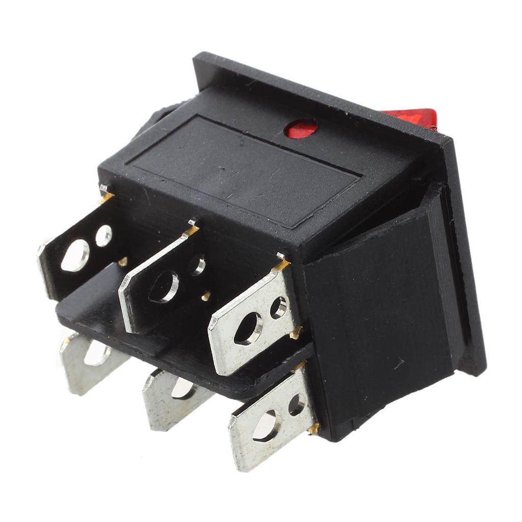 5 Stueck DPDT Rot Neonlicht Ein Aus 15A 125V H4U7 Ein Wippschalter AC 250V