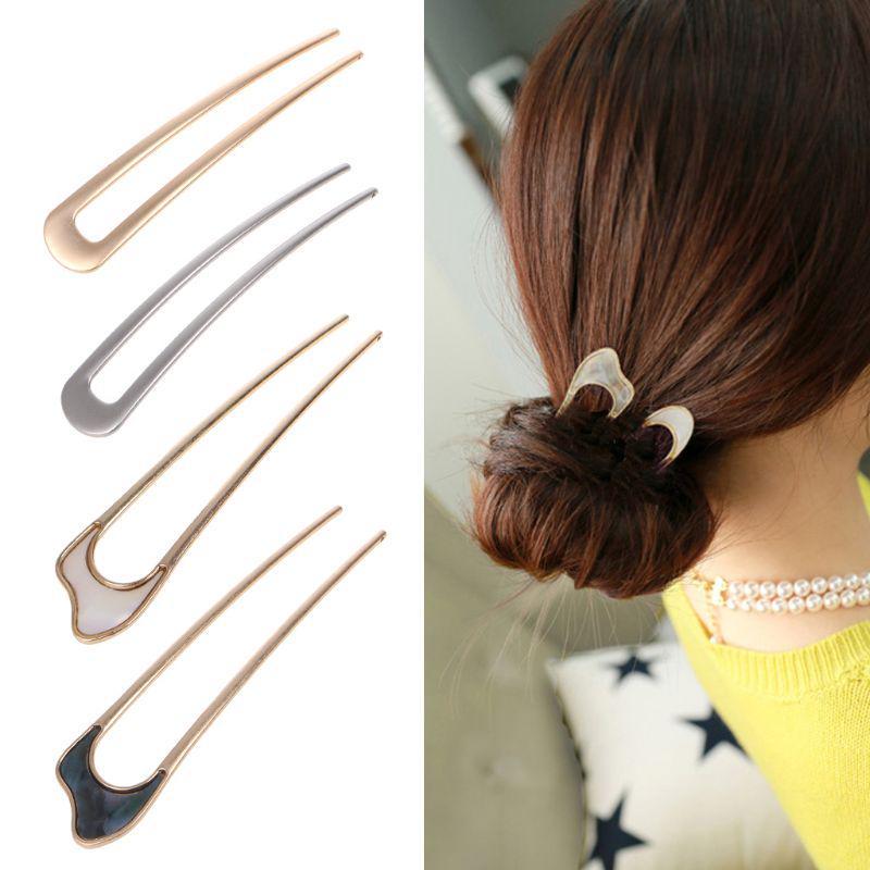 Vintage Style Rhinestones Metal U Shape Hair Stick Chignon Updo Bun Pin Headwear