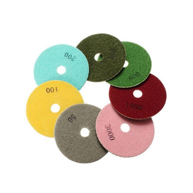 8pcs 4inch Diamond Wet Polishing Pads Granite Stone Dry Polishing Pads Marble Concrete Polishing Disc Kit