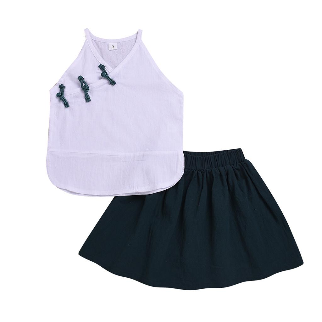 UK Kids Baby Girls Party Dress 2Pcs Set Outfits Floral Top Tassels Skirt 2-8Y