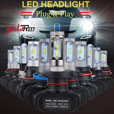 2X H1//H3//H4//H7//H11//H13//9005//9006//9007 Canbus Adapter LED Headlight Bulbs Kit 50W