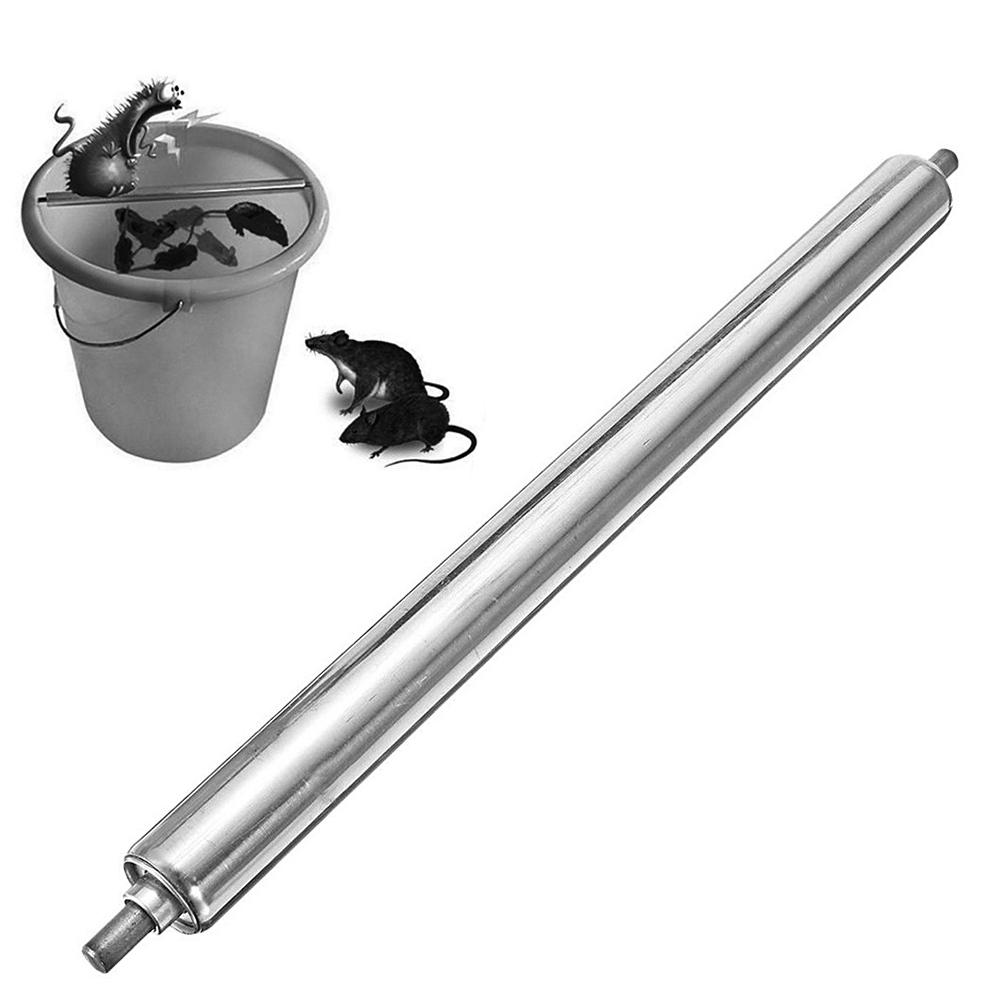 Stainless Steel Rolling Mouse Mice Rat Stick Trap Log Bucket Rodent Spin Tool C