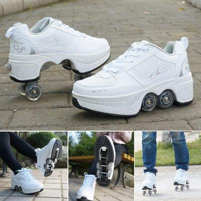 Invisible Four Wheel Pulley Shoes Automatic Deformation Shoes