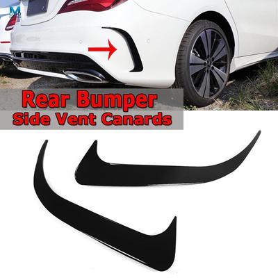 Black Rear Bumper Side Vent Canards For Mercedes-Benz W117 CLA200