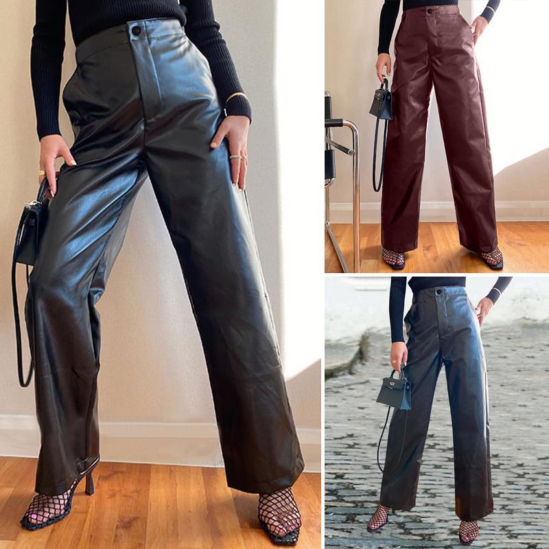 Celmia Мода Высокая Waist прямой брюки Женщины Faux Кожа PU Sashes Длинные брюки Случайные Циппер Широкие брюки ноги – купить по низким ценам в интернет-магазине Joom
