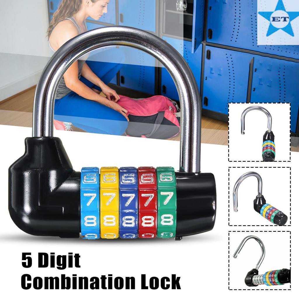 5 Digit Combination Lock Padlock Waterproof Resettable Outdoor Luggage Lock