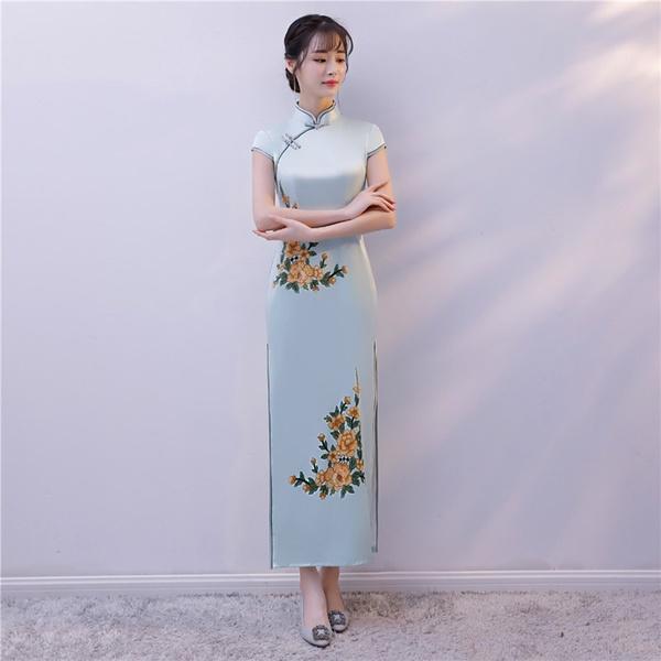 22bb6aa874bb Estilo oriental chino de Shanghai historia Cheongsam largo vestidos Qipao  flores de verano para mujeres cielo azul
