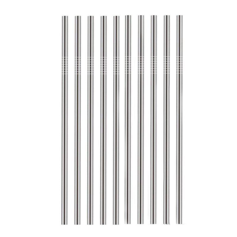 Conjunto de 10 pajillas de acero inoxidable 389be183594