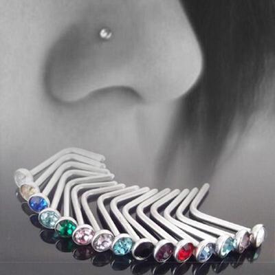 0b36df66ed05 10pcs conjunto de Punk claro Multi Color acero inoxidable cristal tornillo  nariz anillo cuerpo