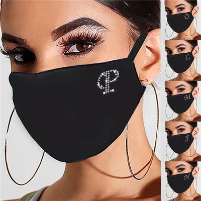 Women Men Drill Sequins Black Mask Washable Reusable Comfy Cloth Face Mask Adjustable Foggy Haze Face Shield Mascarillas