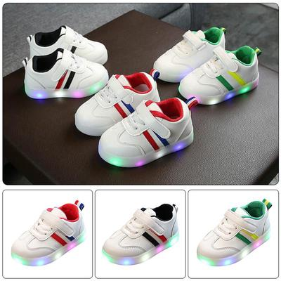 Children Personality Luminous Sneakers Shoes Toddler Kids Baby Striped Footwear LED Light Up