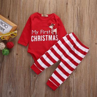 96692bbc1 Xmas Newborn Baby Boys Girls Romper Jumpsuit Bodysuit+Pants Clothes Outfits  Set