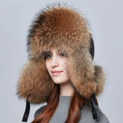 GREY Men/'s Winter Hats 100/% Real Fox Fur/&Lamb Leather
