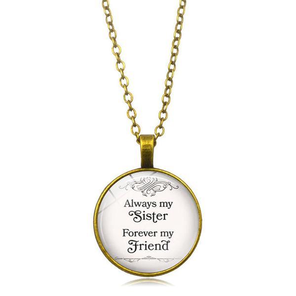 Photo Cabochon Glass necklace Silver popular pendants (Friendship sister)