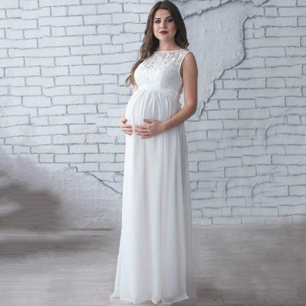 Maternidade grávida fotografia adereços vestido longo branco