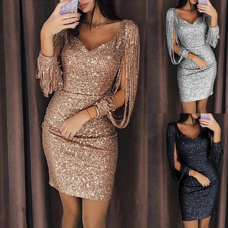 Plus Size Women/'s V Neck 3//4 Sleeves Solid Color Glossy Irregular Bodycon Dress