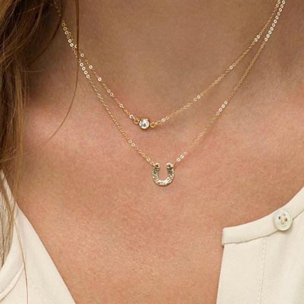 New Rhinestone Horseshoe Jewellery Necklace Pendant Gold Chain Sliver T1N6