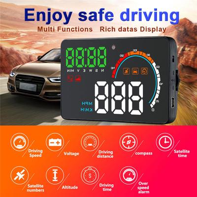 RICH GPS Speedometer,Car HUD Head Up Display,Car Speed Meter Head-up Display Driving Time and Mileage,Compatible with All Cars,Trucks,Motorcycle and Bicycle