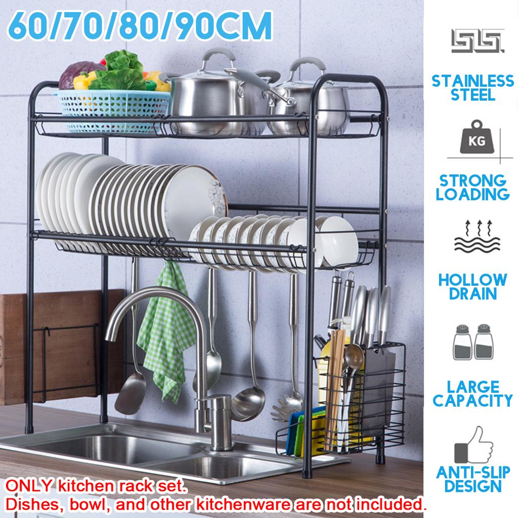 Buy 304 Stainless Steel Drain Dish Rack 2 Layer Cutlery Storage Multifunction Kitchen With Holder Home At Affordable Prices Free Shipping Real Reviews With Photos Joom