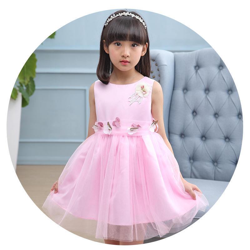 Nuevo verano sin mangas dulce bebé niños princesa vestido de boda ...