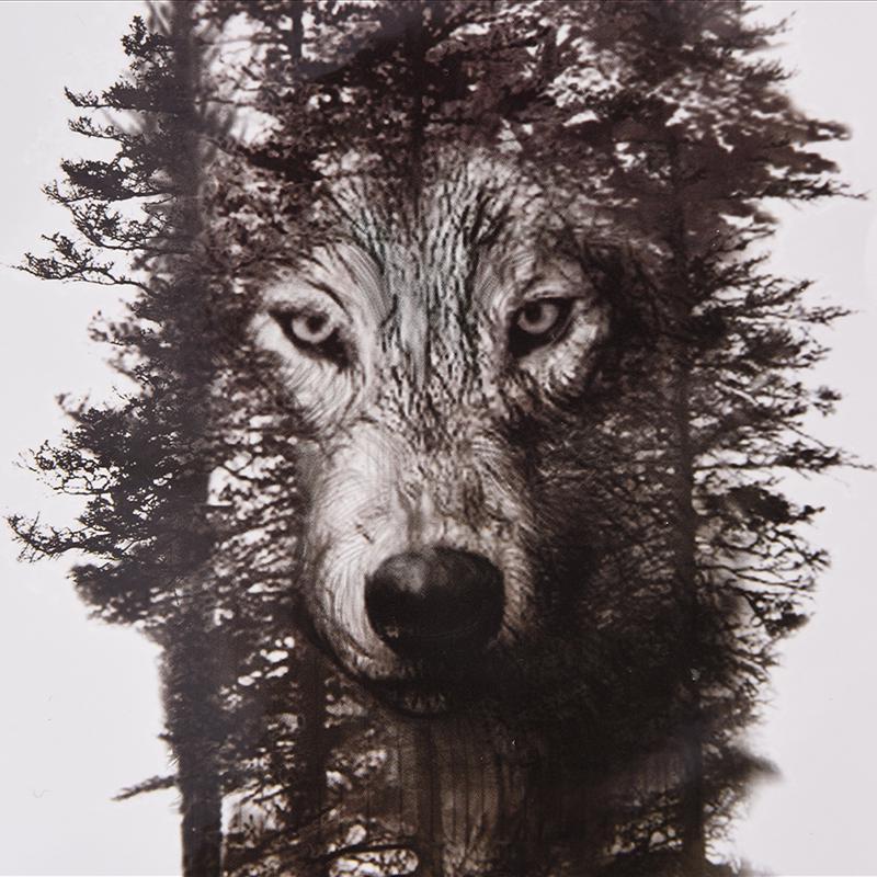 Wodoodporne Tymczasowe Fałszywe Tatuaż Naklejki Szary Las Wilk Zwierzęta Duże Diy