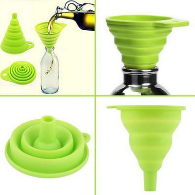 1Pcs Kitchen Mini Silicone Gel Foldable Funnel Hopper Cooking Kitchen Gadgets