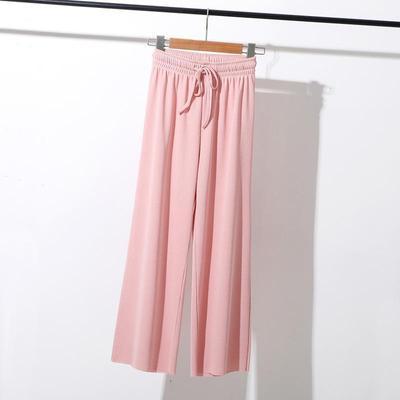 Women Ice Silk Wide Leg Pants Drawstring High Waist Loose Casual Trousers Women Straight Pants