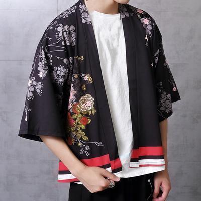Hip Hop Men Kimono Cardigan Japanese Jacket Coat Baggy Tops Outwear Open Front