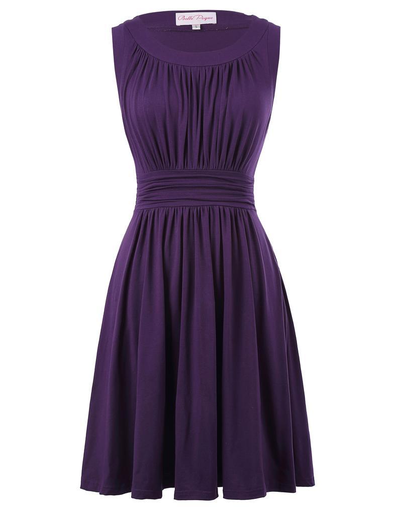 Retro años 50 años 60 vestidos de mujer sin mangas Color sólido ...