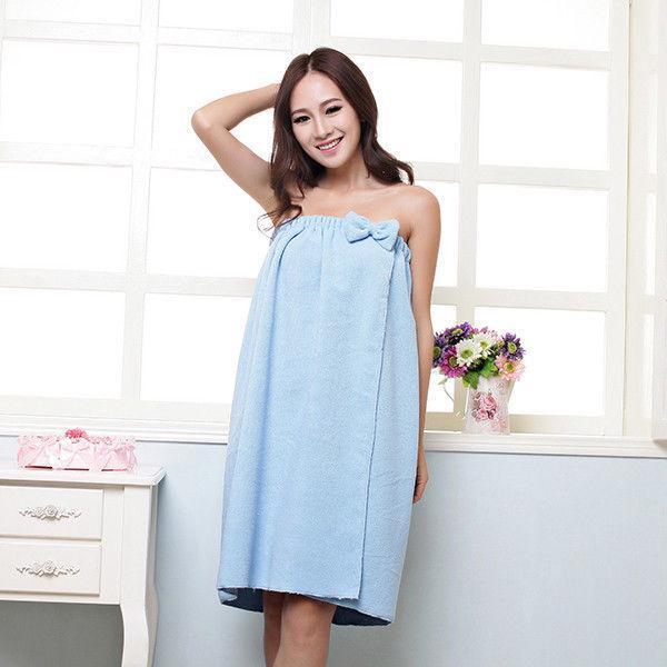 Women Bath Towel Bathrobe Body Spa Bath Bow Wrap Towel Drying Shower Towels Soft