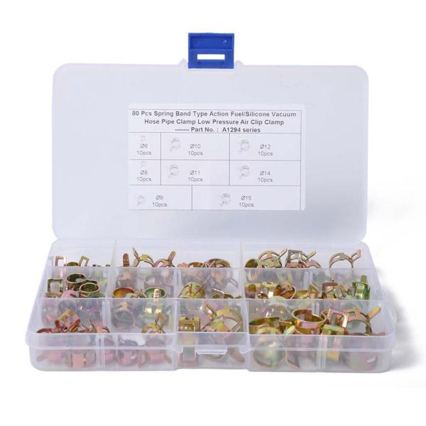 42 Pcs Hose Clamps,Stainless Steel Hose Clamps,7 Size Pipe Hoop Clamp,Adjustable 8-38mm Range Hose Connectors