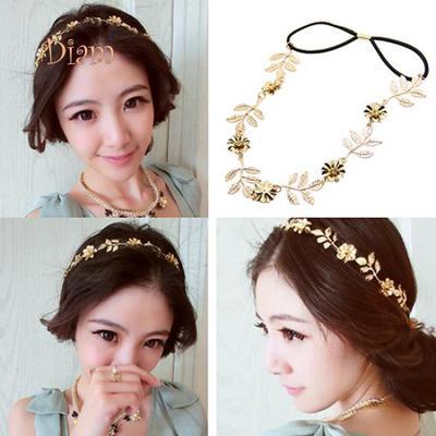 Dilara Women Elegant Baroque Leaf Flower Elastic Headband Hair Band Party  Beach Gift Trinket c6dffdfc447d