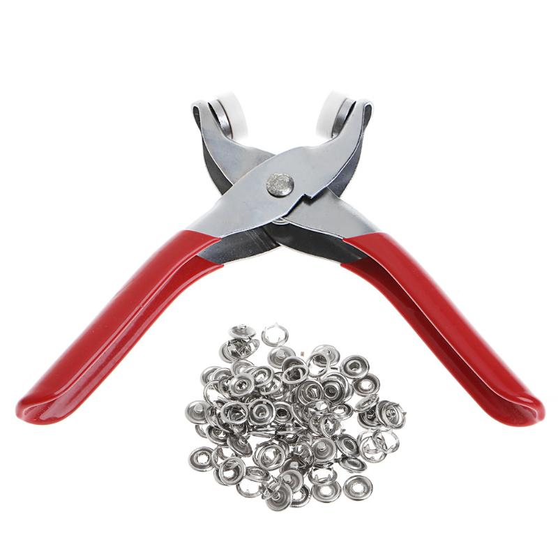 US Craft Snap Fixing Tool Fastener Pliers 100pcs Snap Buttons Press Studs Kit