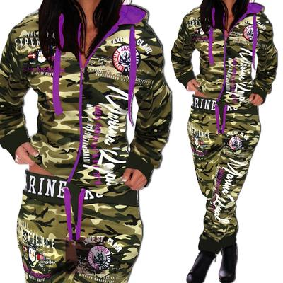 2019 Women Leisure Tracksuit Zipper Printed Hoodies +