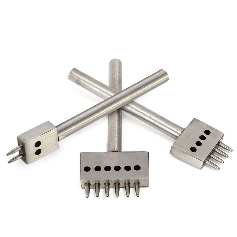 4/mm Schwarz 2//4//6/Zinken Set Leder Craft Stahl Reihe Locher Naht Mei/ßel