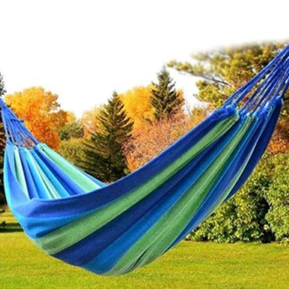 Outdoor Garden Canvas Hammock Beach Travel Camping Swing Hang Bed Multi-Red