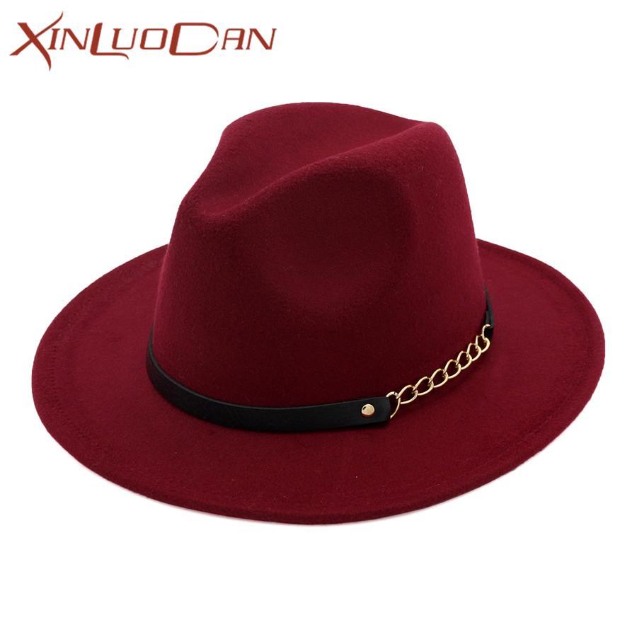 e20cdf983dc9d Elegant Wide Brim Fedora Hat Ladies Wool Felt Hats Jazz Belt Spring ...