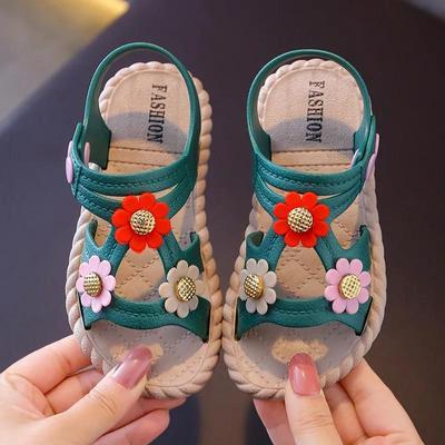 Girls Sandals Girls Summer Soft Sole Flat Beach Sandals Anti-slip Flowers Decoration Casual Princess Light Sandals