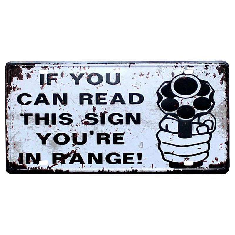 If You Can Read This Sign You Are In Range Vintage Slogan Metal Tin Sign Art Plate Poster Plaque Buy At A Low Prices On Joom E Commerce Platform