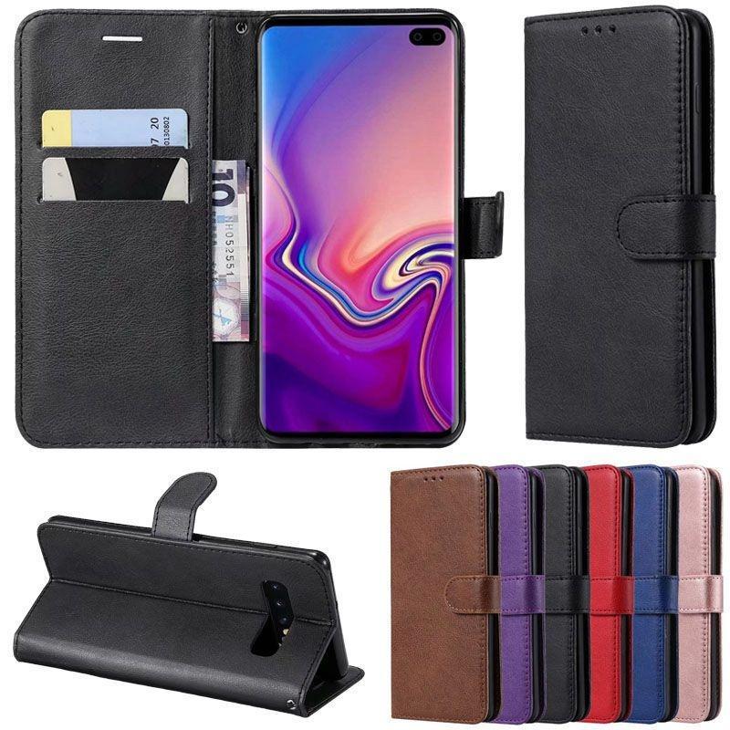 Чистый цвет Flip Обложка PU Кожаный кошелек Мобильный телефон Дело для Samsung iPhone OPPO Nokia OnePlus Vivo