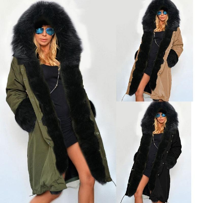 Mujer Caliente Chaqueta Invierno Sintética De Piel Abrigos Moda qXzYw