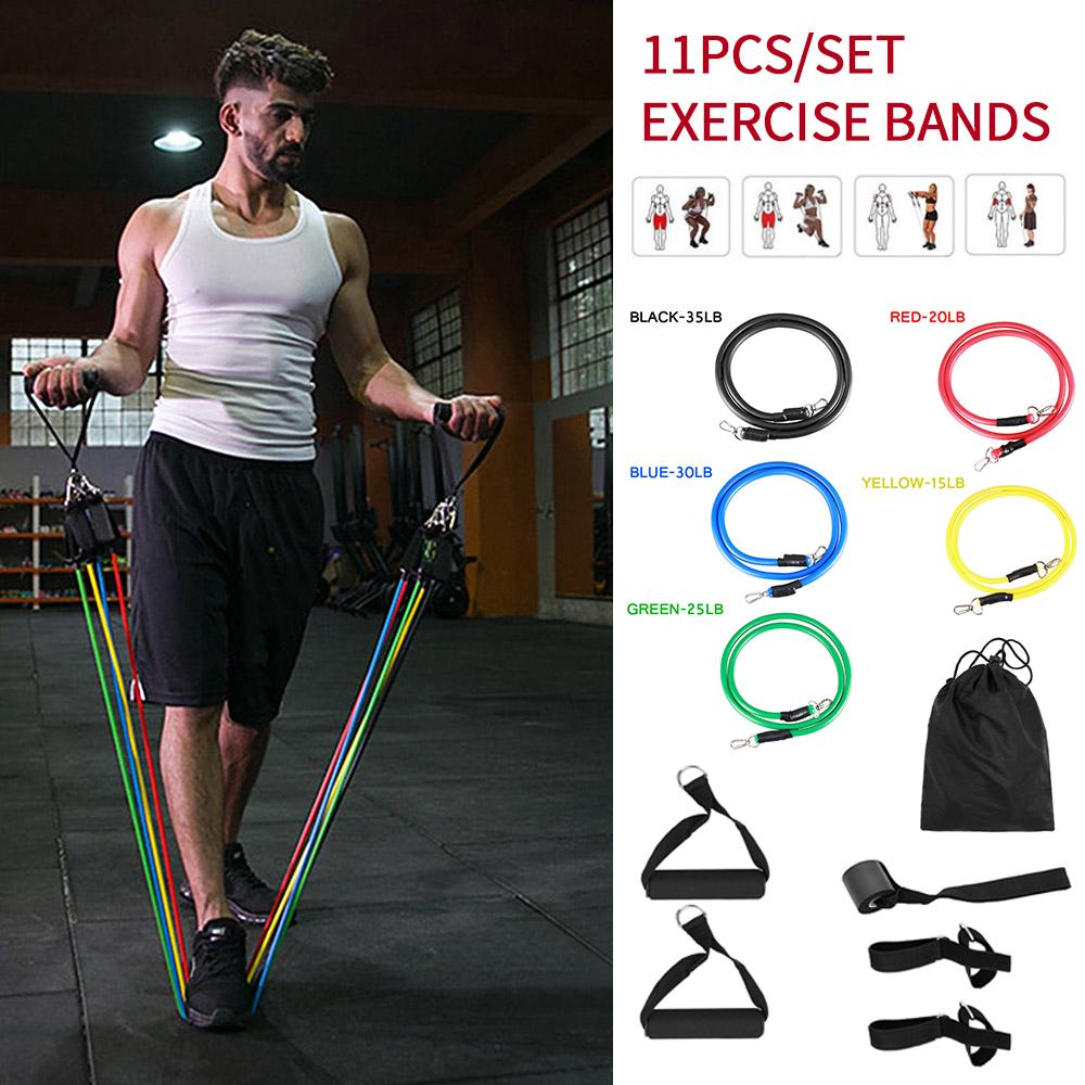 Details about  /Heavy Expander Resistance Strength Fitness Elastic Bands Set Door Ankle Straps