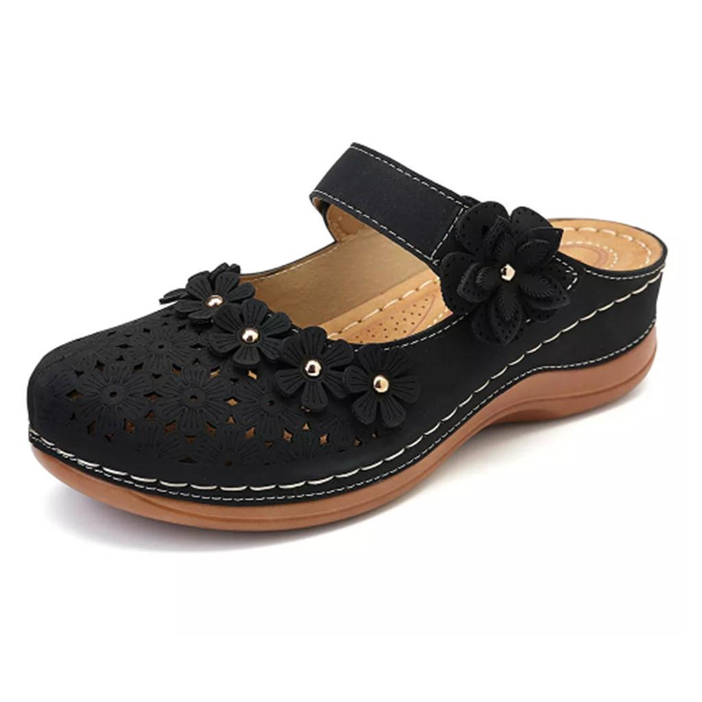Reokoou Women Low Heel Shoes Casual Round Head Shallow Ladies Flat Slip-On Single Shoes